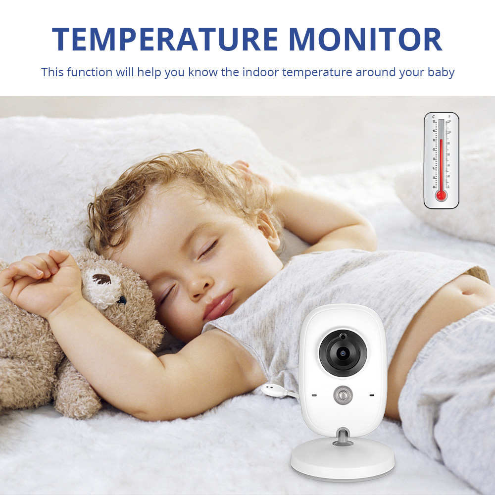 3 2 inch Portable 2 Way Talk Night Vision Temperature Monitoring Colorful Babyfoon Wireless Video Baby