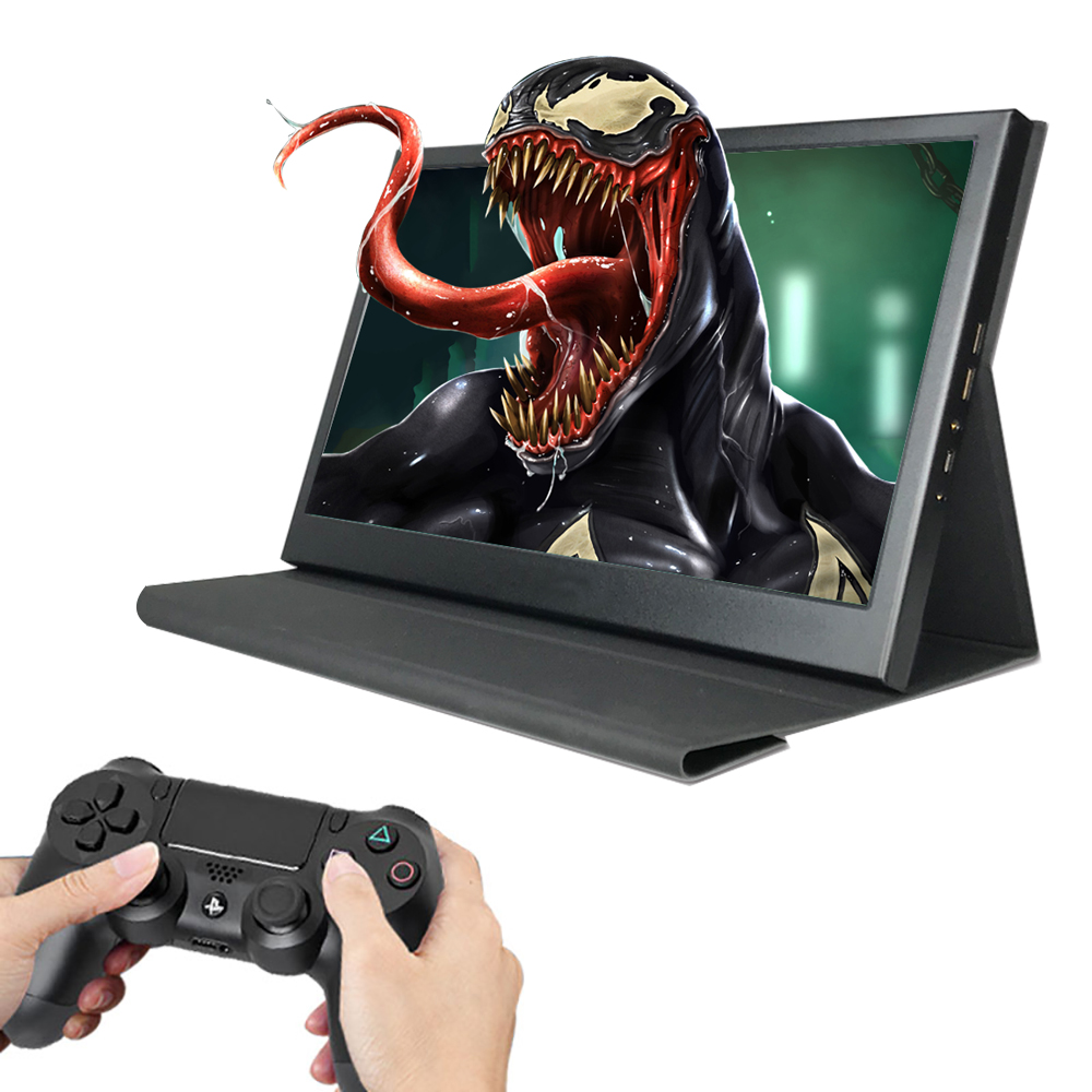 13.3 LCD Gaming Portable Monitor 1920X1080 IPS Screen HDMI with leather case Build-in Speakers for Raspberry Pi PS3/4 image