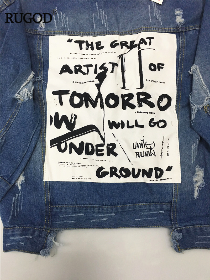 HTB1STj6VYPpK1RjSZFFq6y5PpXaE RUGOD Basic Coat Bombers Vintage Fabric Patchwork Denim Jacket Women Cowboy Jeans 2019 Autumn Frayed Ripped Hole Jean Jacket