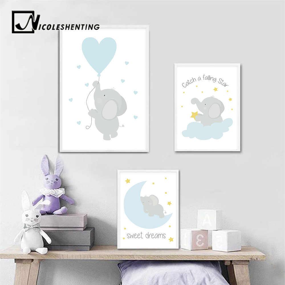 Детские настенная живопись садик Постеры-холсты принты мультфильм слон картина с Луной Nordic детские украшения Картина декор для детской спальни