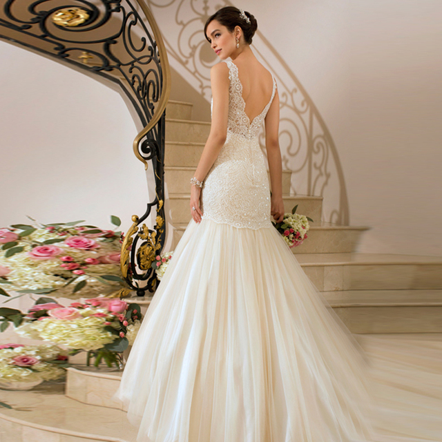Fashion Noiva Vestido Spaghetti White Ivory Liques V Neck Bridal Dress Custom Fit Wedding