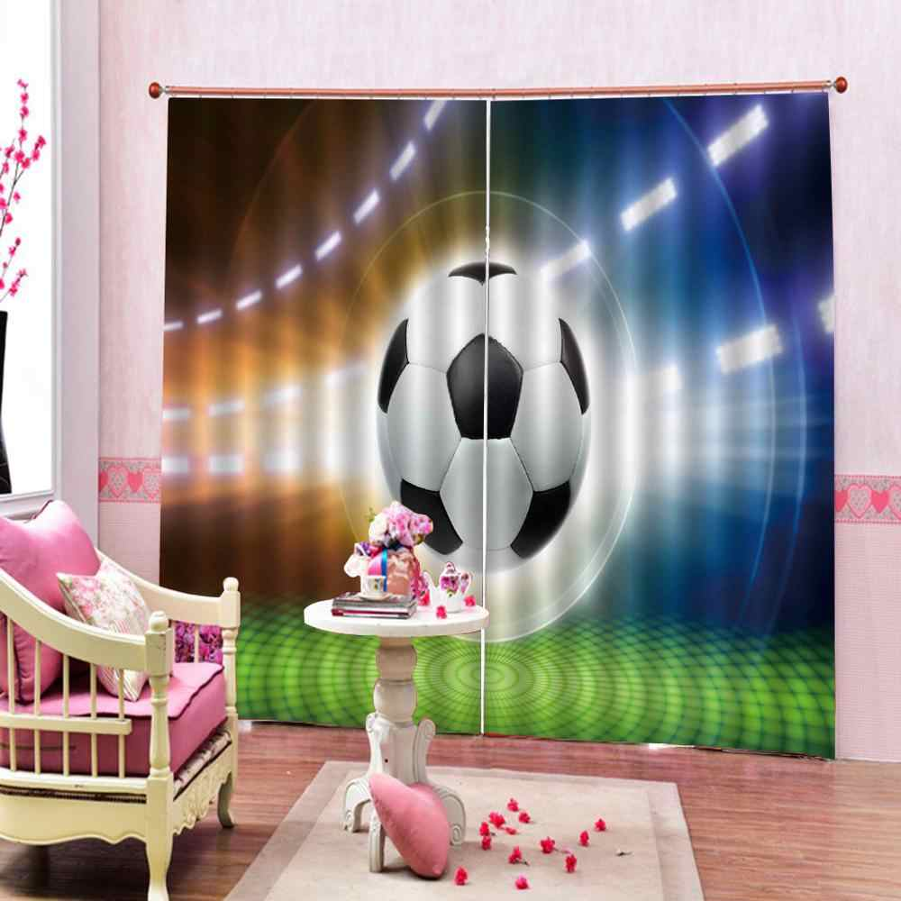 Luxury 3D Window Curtains Living Room wedding bedroom sport football curtains for bedroom Blackout curtain