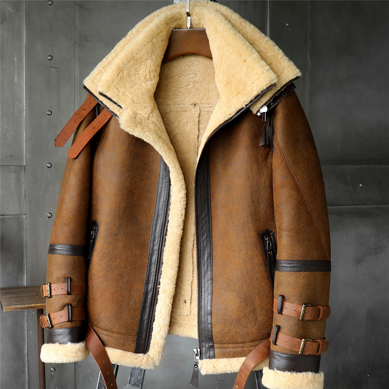 B3 Men's Shearling Jacket  Flight Jacket Imported Wool From Australia Short Leather Jacket Mans Sheepskin Aviator Fur Coat