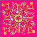 2016 Silk Gorgeous Flying Rope Lock Pendant Ribbon Tassel Silk Scarf Scarf Pattern 100*100cm