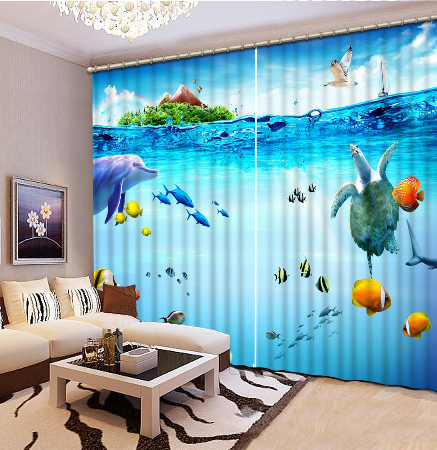 customize Ocean World curtains for bedroom living room windows high quality curtaincustomize Ocean World curtains for bedroom living room windows high quality curtain