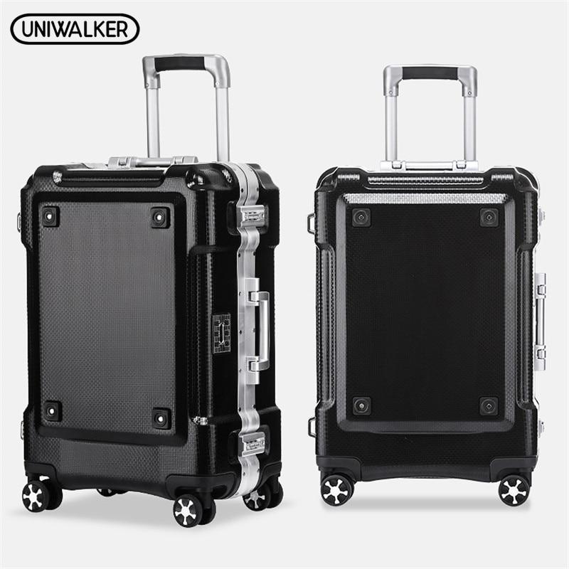 UNIWALKER 20 24 29 дюймов ABS + PC Rolling Чемодан алюминиевая рама тележки для путешествий переноски на чемоданы с подстаканником блесна колеса