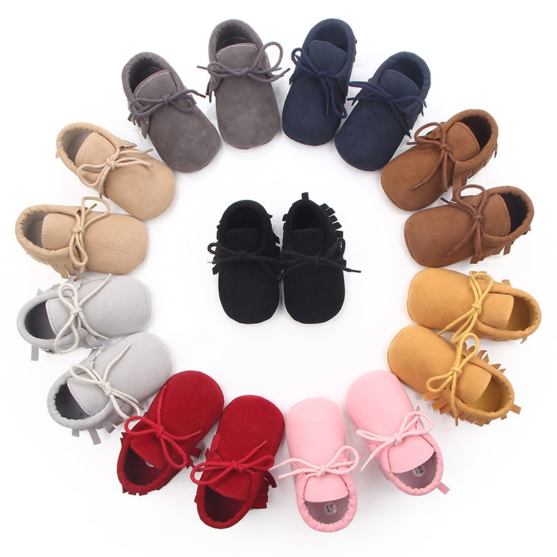 Baby Boys Girls Moccasins Moccs Shoes First Walkers Fringe Soft Soled Non-slip Footwear PU Leather Crib Shoes