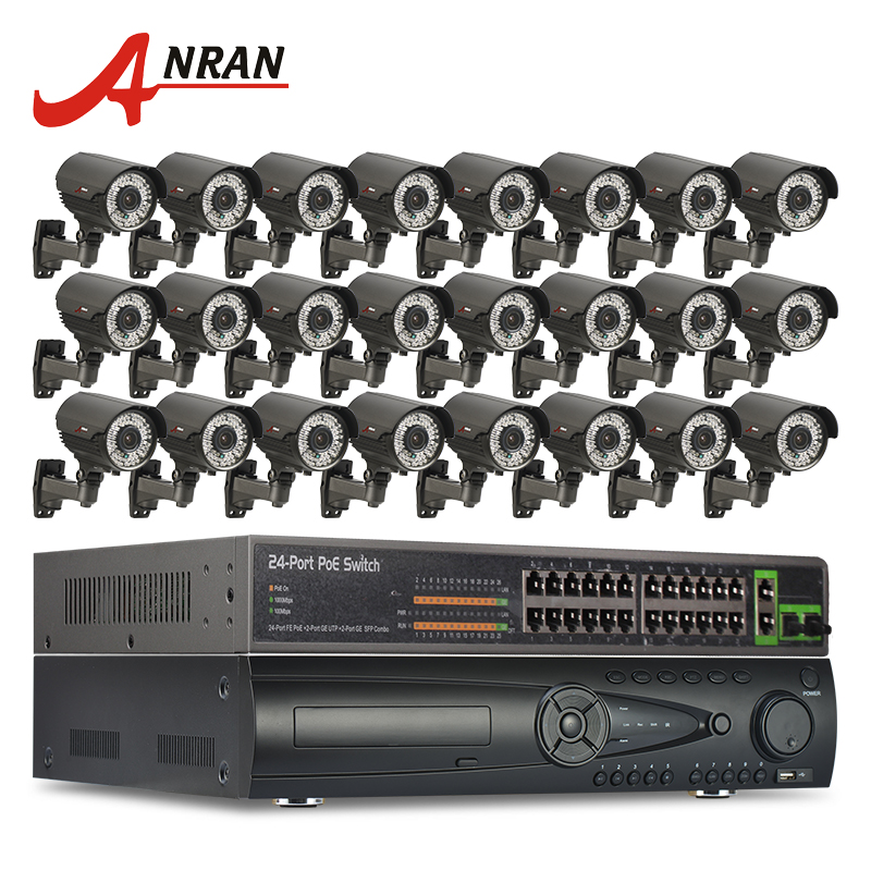 Anran 24ch HDMI NVR 24ch PoE коммутатор видеонаблюдения Системы 9 ТБ HDD ONVIF 1080 P HD H.264 с переменным фокусным расстоянием 2.8 12 мм Открытый poe ip Камера