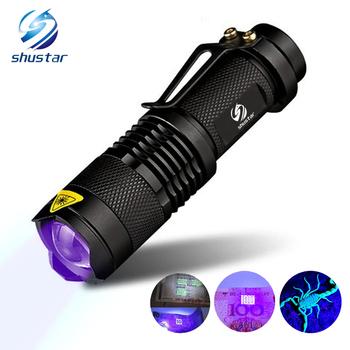 Latarka UV latarki światło Ultra Violet Light Blacklight UV Lampa AA bateria do marker Checker Detection SK68 tanie i dobre opinie Czarny Żarówki LED FCC RoHS CE UV odporny na wstrząsy 2-4 pliki z shustar Wysoka niska Latarka ultrafioletowe Regulowane