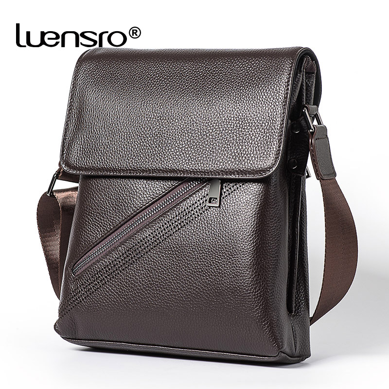 LUENSRO Shoulder Bags for Men Genuine Leather Bag Casual Business Leather Mens Messenger Bag Vintage Men