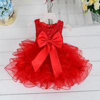 2016 Fluffy 3 Layer Flower Girl Dress Baby Girls Princess Lace Party Dress Sleeveless Wedding Pageant