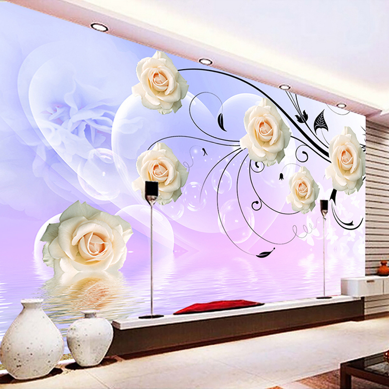 Custom 3D Photo Wallpaper 3D Rose Flower Vine Living Room Sofa Bedroom TV Background Large Wall Mural Wallpaper Modern Painting custom baby wallpaper snow white and the seven dwarfs bedroom for the children s room mural backdrop stereoscopic 3d