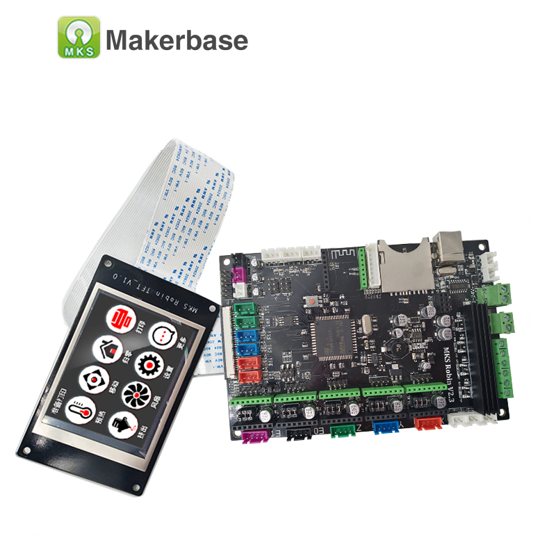 MKS Robin + TFT32 LCD integrated circuit mainboard Robin STM32 controller mother card with 3.2 inch TFT display FDM 3d printer 3d printer parts mks robin v2 2 controller motherboard with robin tft32 display closed source software mks robin wifi module