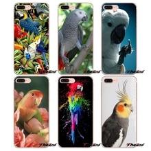 For iPhone X 4 4S 5 5S 5C SE 6 6S 7 8 Plus Samsung Galaxy J1 J3 J5 J7 A3 A5 Rainbow flower Bird Ringneck Parrot Case