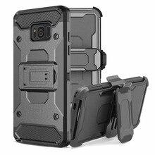 Для Samsung Galaxy S8 S8 плюс PC + Силиконовые Военная телефон случаях зажимом пояса кобура Подставка Броня телефона чехол для Samsung g9500 /S8 +