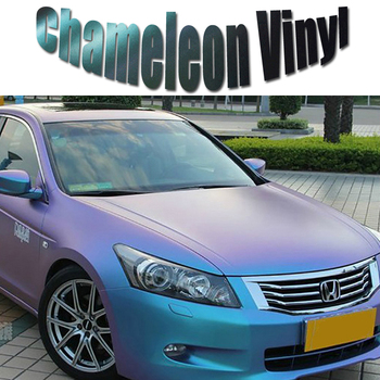 Size 1.52x30m/Roll Chameleon Vinyl Wrap Film Purple-Blue Chameleon Matt Car Wrapping Stickers With Air Bubble Free