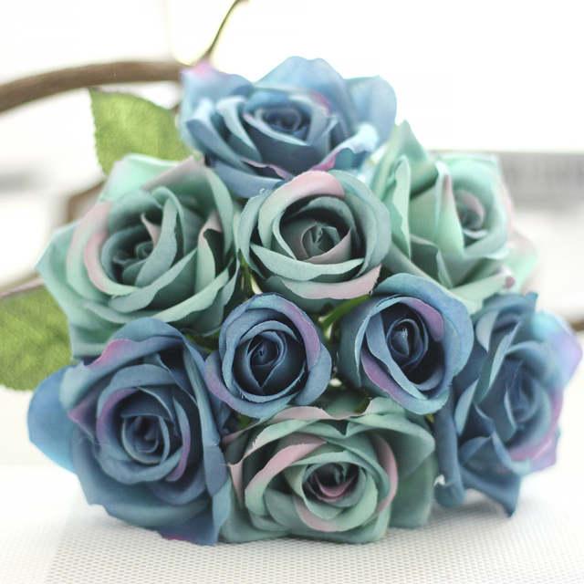 Mazzo Di Fiori Blu.1 Mazzo Di Seta Artificiale Fiore Blu Royal Rosa Per La Cerimonia