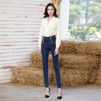 Карандаш джинсовые брюки женские Высокая талия пикантные узкие Push Up Жан Pantalones