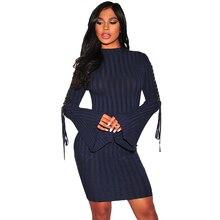 Длинными расклешенными рукавами и высоким воротником сексуальные Для женщин трикотажные Платья-свитеры 2017 осень-зима Вечеринка Bodycon халат Vestidos