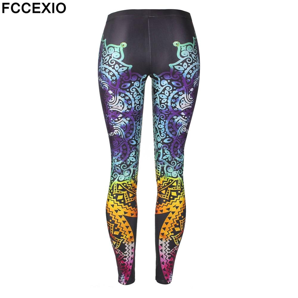 FCCEXIO Women Leggings Mandala Flower 3D Printed Patchwork Color Fitness Leggins Slim High Waist Elastic Trousers Pants Legins in Leggings from Women 39 s Clothing