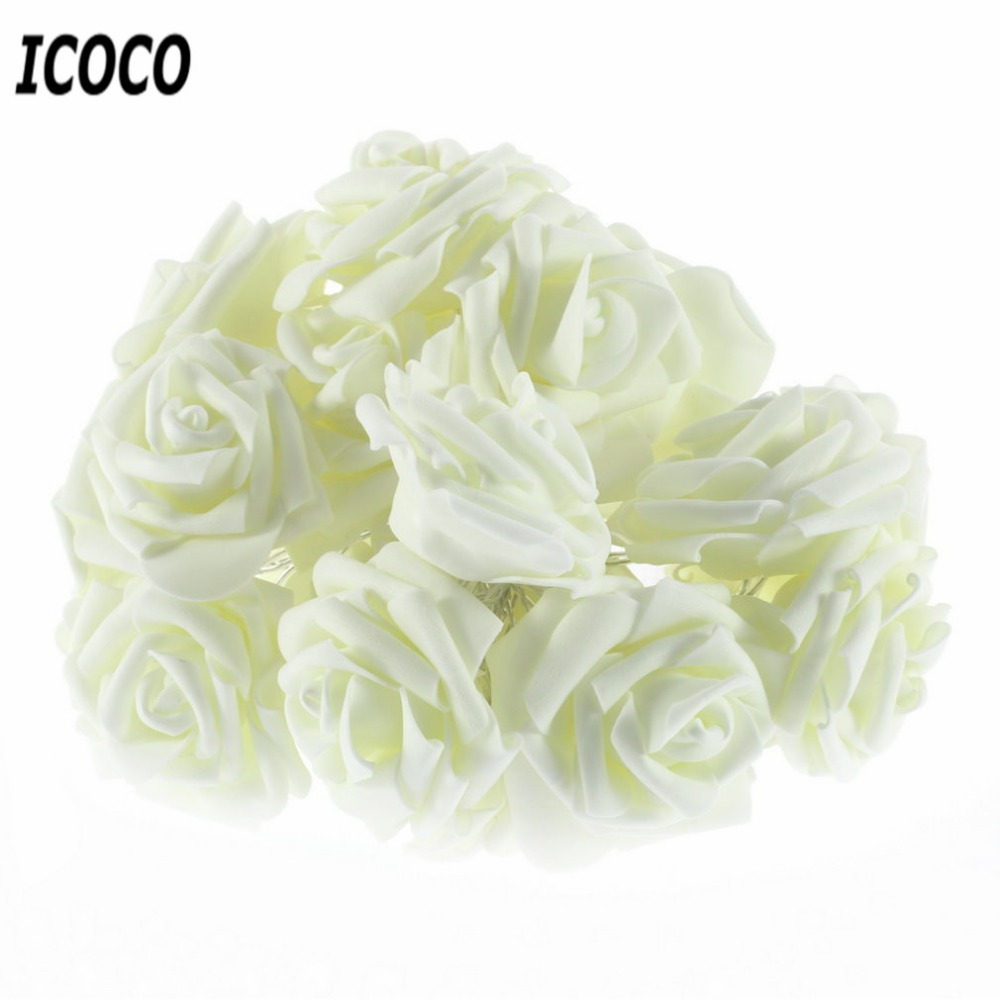 ICOCO 20LED Rose Flower Fairy Wedding Party Christmas Holiday Decoration String Lights Festival Wire String Fairy Lights Lamps