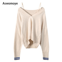 2018 Autumn Winter New V Collar Women Sweaters Loose Long Sleeve Wool Pullovers Female Sexy Tops Spaghetti Strap Haute Couture