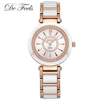 Fashion Ladies Watch Luxury Diamond Rose Gold Dress Women Sapphire Quartz Ceramic Montre Femme Watches Female Wristwatches Clock