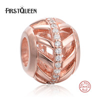 FirstQueen Autumn Collection 925 Sterling Silver Vintage Leaf Charm With Clear Crystal Beads Fit Bracelet With