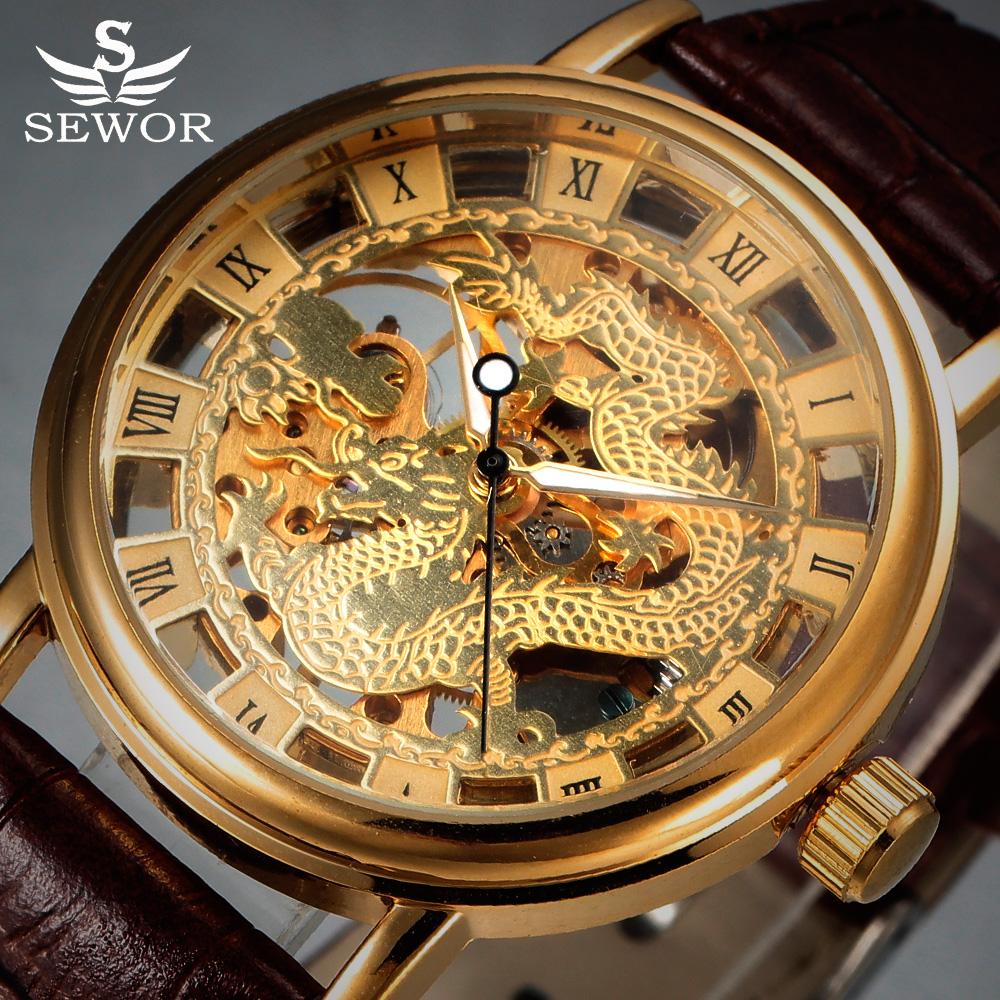 Prix pour Mens Montres SEWOR Marque De Luxe Or Squelette Montre Mécanique Hommes Chinois Dragon Horloge En Cuir Mode Casual Poignet Montres