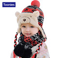 2016 New Fashion Baby Winter Cap Cute Cartoon Bear Shape Knitted Baby Winter Hat Casual Warm Newborn Hat Touca Infantil Hat Baby
