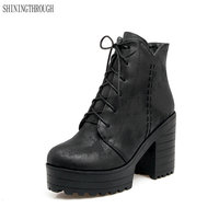 Largr size 34 43 New sexy ankle boots winter lace up women boots motorcycle shoes thick high heels boots platform shoes woman