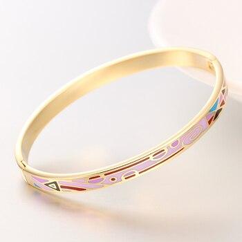 b64cda9f12e1 R   X oro mujer Detalles fina Regalos Esmaltes Boda mujeres joyería Bijoux  plateado brazalete del acero inoxidable pulsera brazaletes del esmalte