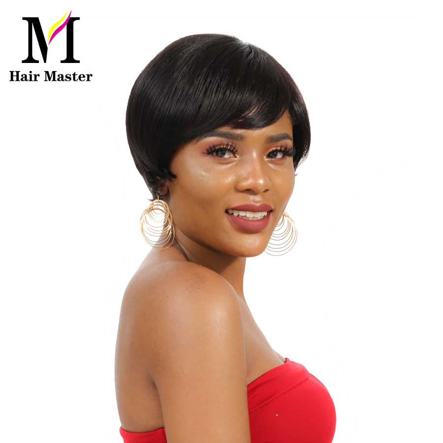 Hair Master SHort Brazilian Straight Hair Wig Nature Color 100% Remy Human Hair Bob Wigs For Black Women Machine Made Wig