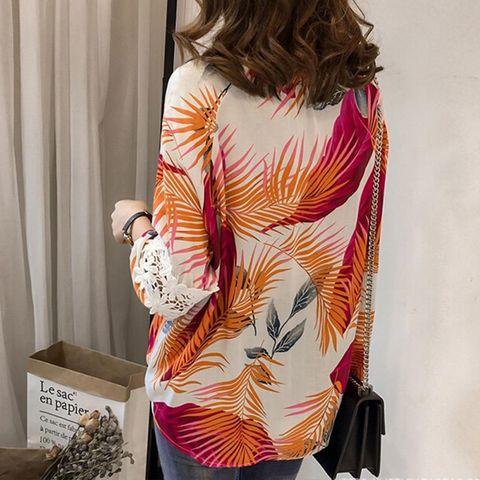 Women Vintage Floral V Neck Blouses Long Sleeve Loose Shirts Lace patchwork Casual Plus size Blusas Femininas European 4XL Multan