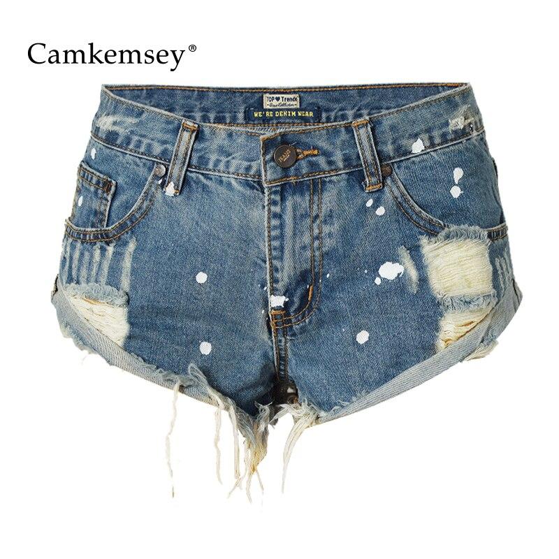 CamKemsey Summer Cotton Denim Shorts Women 2018 Vintage High Waist Shorts Women Sexy Holes Cuffed Jeans Shorts Female