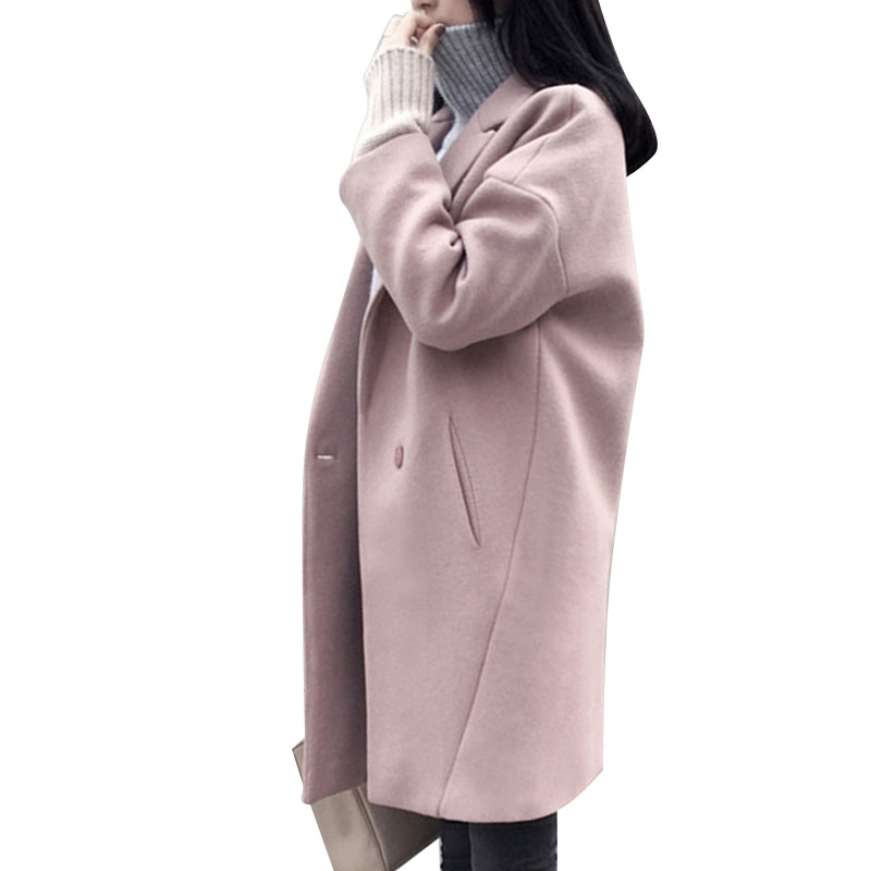 Winter Women Pink Wool Coat Long Thick Female Overcoat Loose Oversized Cardigan Women's Woolen Jackets Coats Sobretudo Feminino