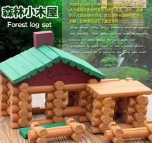 90 PCs Children Brand wooden cabin assemble doll house with 2pcs wooden dolls/ Kids wooden villa blocks for educational toys