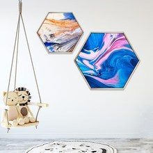 Abstract style fancy Ink model house decorative mural hexagon creativity wall paintings sofa background Hanging
