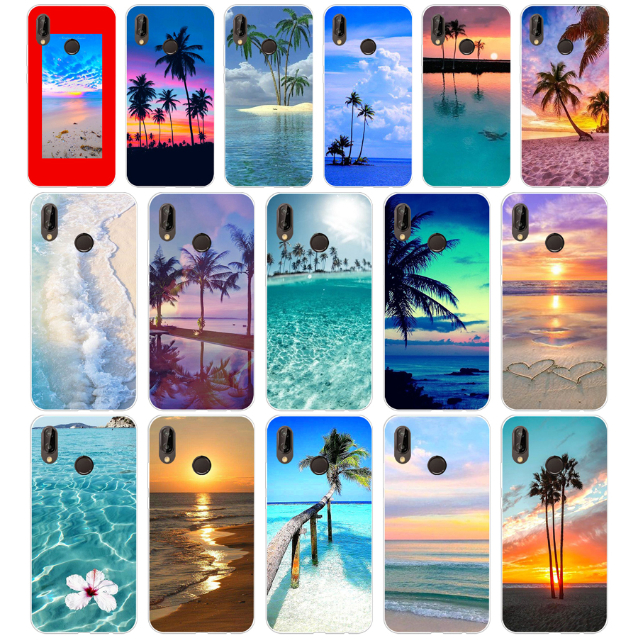 283H summer Beach Scene at Sunset on sea Palm Tree Soft Silicone Tpu Cover Case for huawei p 20 lite pro y6 2017 mate 10 lite