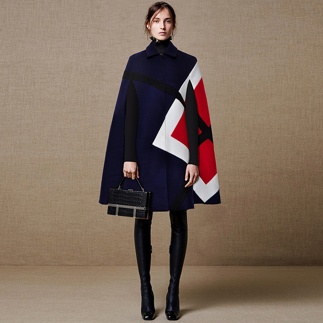 20d545ad3f0d9 US $73.07 13% OFF HIGH QUALITY Designer Runway Coat Women's Batwing Sleeve  Color Block Cape Cloak Wool Coat-in Wool & Blends from Women's Clothing on  ...