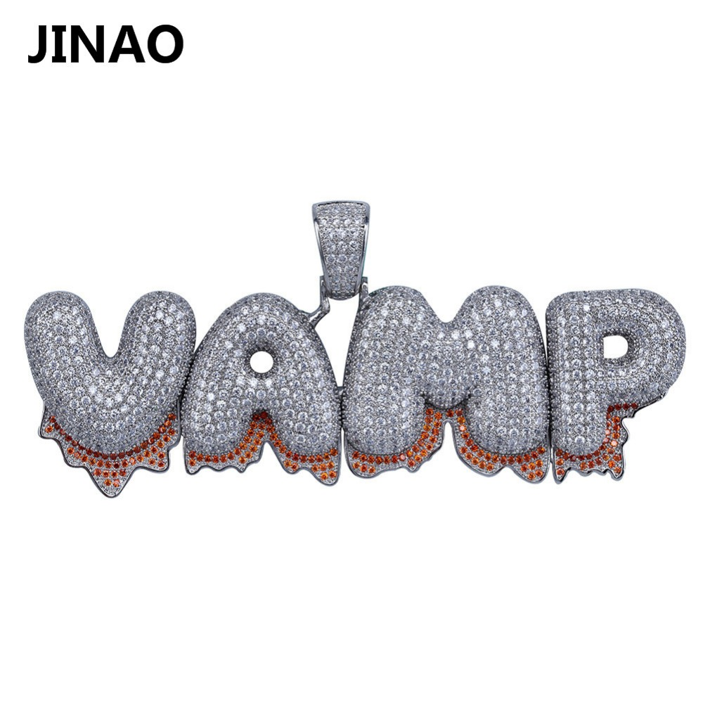 JINAO Personalized Name Custom Bubble Blood Drip Letter Pendant Necklace For Men Women Gift Hip Hop AAA Cubic Zirconia Jewelry men s straight streetwear slim denim trousers mens hole hip hop personalized letter printing ripped jeans pants for men