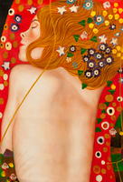 Hand Painted Canvas Oil Painting for Bedroom Sea Serpents IV by Gustav Klimt Painting Abstract Wall Arts Nude Woman Painting