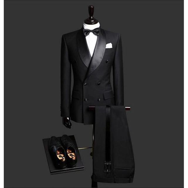 Custom Made Slim Fit Black 2 Piece Mens Blazer Double Breasted Suit Men Wedding Suits Groom Tuxedos For Men (Jacket+Pants+Tie)