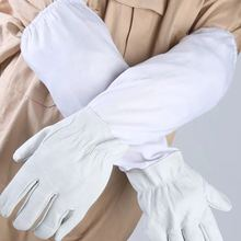 Sheepskin gloves beekeeping tools protective tools anti-bee smashing protection [protective gloves] bee clothing bee unisex anti bee clothing cotton beekeeper bee clothing bee caps 1pair sheepskin gloves apiculture costume white grey color