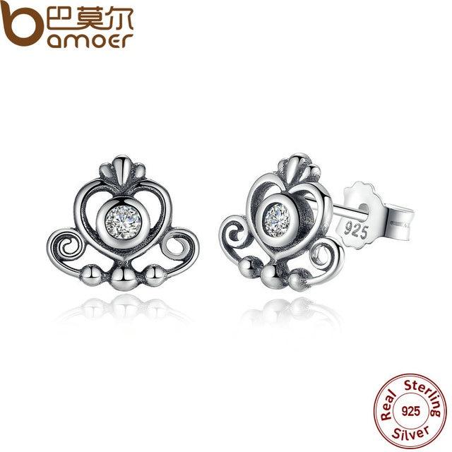 Bamoer 925 Sterling Silver My Princess Tiara Clear Cz Heart Crown Stud Earrings For Women