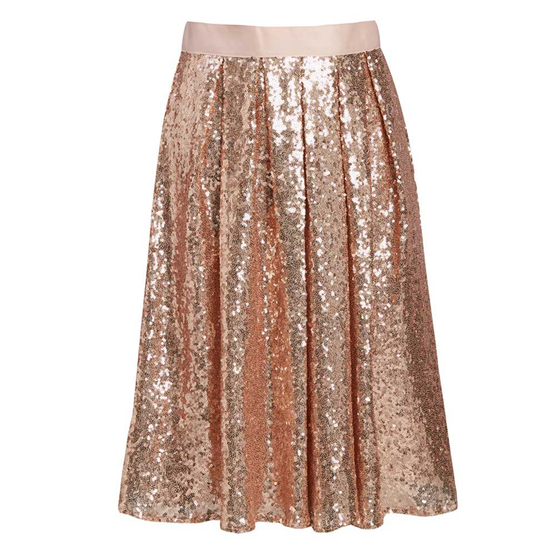 Blingbling 2018 <font><b>Rose</b></font> <font><b>Gold</b></font> Midi Sequined <font><b>Skirts</b></font> For Women Shiny Knee Length Female <font><b>Skirt</b></font> For Party Custo Made Zipper Saia image