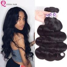 Queena 8a Peruvian Body Wave Virgin Remy Hair 3/4 Bundles De