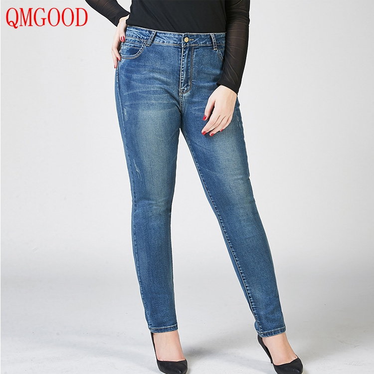 QMGOOD Autumn Large Size High Waist Women Jeans  Retro Classic Denim Long Pants Elasticity Skinny Lady Jeans Plus Size 28-40 women jeans large size high waist autumn 2017 blue elastic long skinny slim jeans trousers large size denim pants stretch female