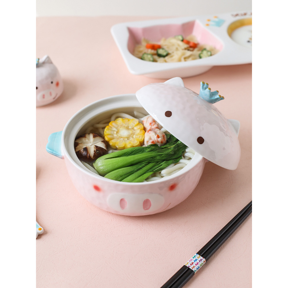 ceramic noodle bowl for children cute pig cartoon lovely child kitchen tableware dinner plates pink spoon dishes and plates sets