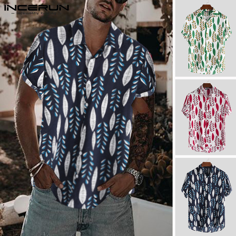 INCERUN Hawaiian Wind Summer Men's Short Sleeve Leaf Print Street Costume Lapel 2019 Men's Shirt Loose Fashion Street Chic Shirt